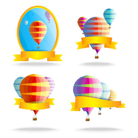 ballooning: Ribbons with balloons. Set of colorful illustrations