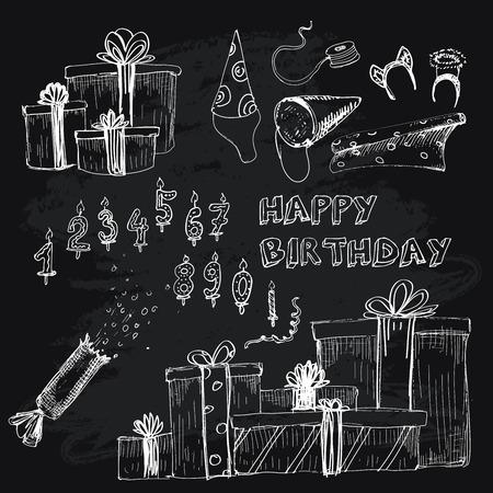 Happy birthday collection. Set of hand drawn illustratios