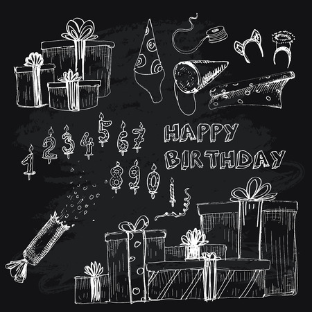 Happy birthday collection. Set of hand drawn illustratios