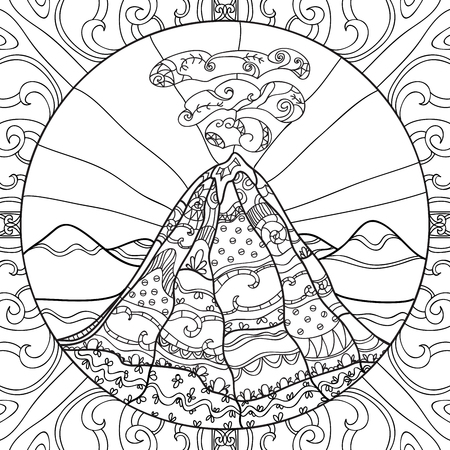 Coloring page with volcano and abstract pattern. Hand drawn graphic illustration
