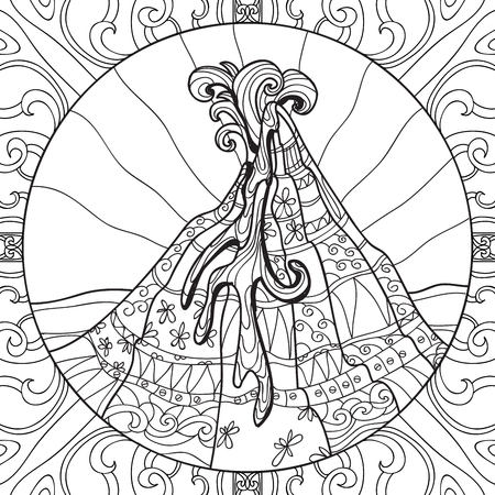 ash cloud: Coloring page with volcano and abstract pattern. Hand drawn graphic illustration