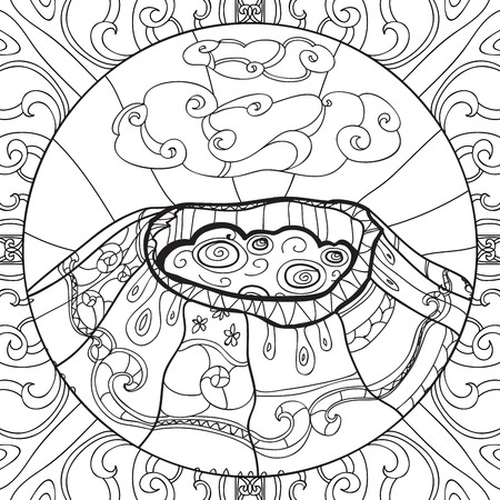 erupt: Coloring page with volcano and abstract pattern. Hand drawn graphic illustration