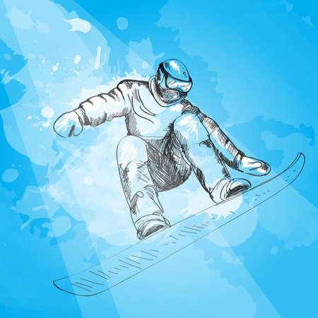 snowboarder: Snowboarding. Snowboarder in jump and flight. Hand drawn graphic illustration