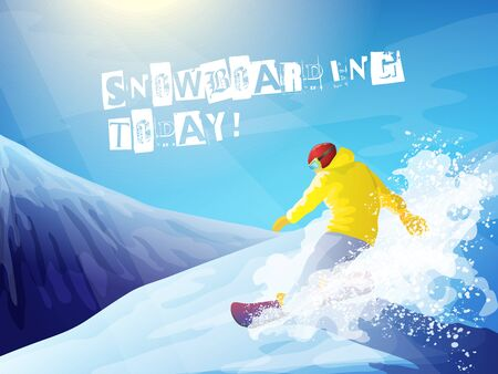 snowboarder: Snowboarding. Winter landscape with sun, mountains and snowboarder.