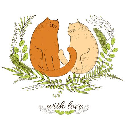 cute love: Cats and love. Two cats with frame from leaves. Hand drawn illustration Illustration