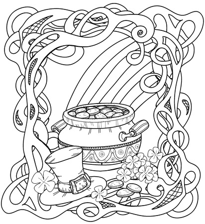 Leprechauns gold. Coloring page with pot of gold, rainbow, leprechaun hat and clovers.