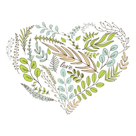 natural love: Heart from leaves. Hand drawn graphic leaves in heart form and word -love Illustration