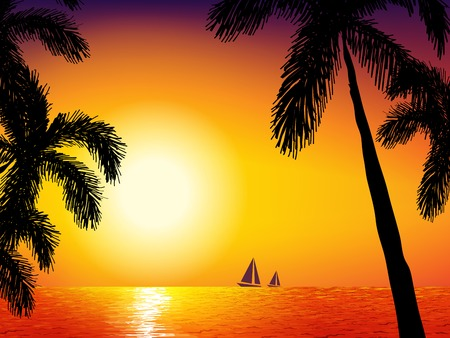 romantic getaway: Sunrise on the sea. Background with sun , sea and palm tree