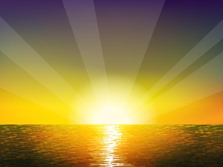 vogelspuren: Sonnenaufgang auf dem Meer. Hintergrund mit Sonne, Licht und Meer