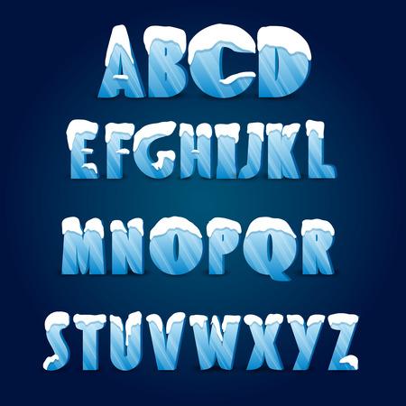 Ice Alphabet. Sammlung von Eis Buchstaben mit Schnee Kappen.