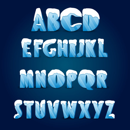 Ice alphabet. Collection of ice letters with snow caps.