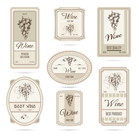 baroque pearl: Collection of wine labels. Set of vector labels with hand drawn graphic grapes brunch and beige pastel background.
