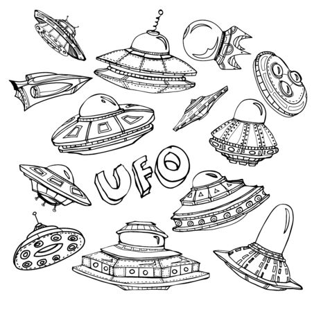 area 51: Collection of UFO. Set of hand drawn graphic illustration on cosmic theme Illustration