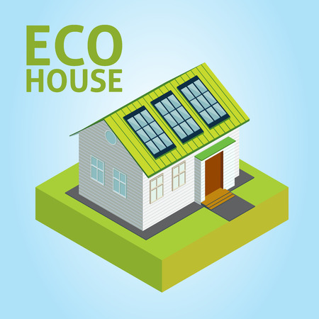 solar equipment: Green House vector concept - Isometric composition of small house with ecological equipment - solar cells Illustration