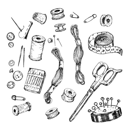 hank: Vector set: collection of highly detailed hand drawn sewing and knitting tools.