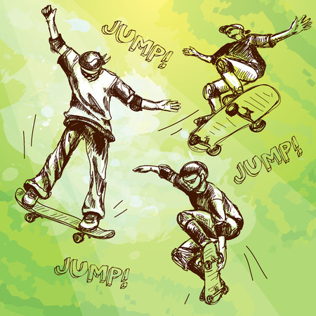 grange: Hand drawn skateboarders. Vector collection of skateboarders on grange background for your design