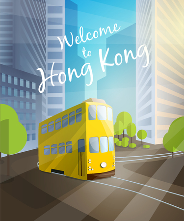 mega city: Welcome to Hong Kong. Poster with traditional tram on city background Illustration