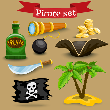 simbols: Collection of pirate illustrations. Set with pirate hat, coins and other pirate simbols