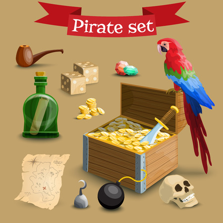 simbols: Collection of pirate illustrations. Set with pirate chest, coins, parrot and other pirate simbols