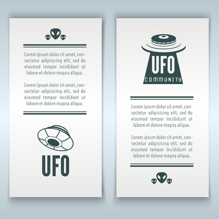 51: Collection of UFO. Set of banners with UFO Illustration