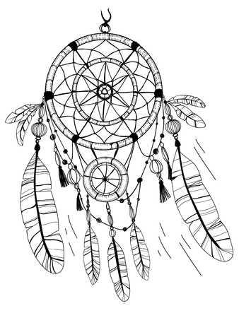 african americans: Dreamcatcher, feathers and beads. Native american indian dream catcher, traditional symbol