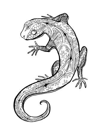dodgy: Lizard. Tropical illustration for adult coloring book. Hand drawn line art. Illustration