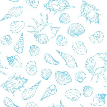cockle: Seamless sea pattern with hand drawn seashells on white background