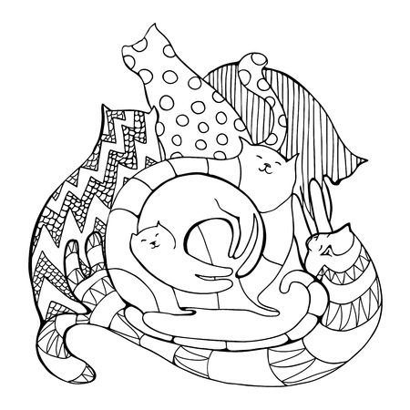 tomcat: Coloring page with composition of hand drawn decorative cats