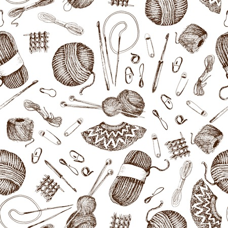 Seamless pattern with knitting accessories. Hand drawn graphic illustrations Illustration