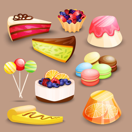 Highly detailed dessert set with cake, macaroon, candy and other sweets