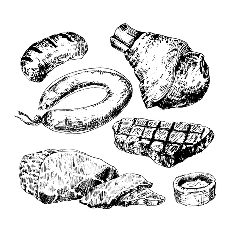 Various meats doodles: sausages, wurst, wiener, salami, steak sketch hand drawing