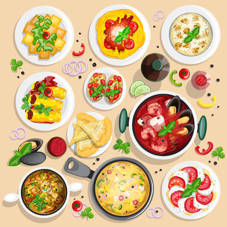bolognese: Italian cuisine top view frame. Italian food menu design. Colorful hand drawn collection of top view illustrations. Illustration
