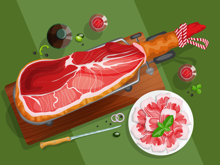 iberian: Top view composition with iberian ham on a jamonera, sliced iberian ham and red wine.