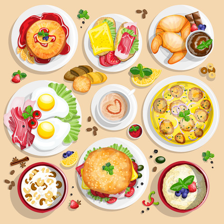 boiled: Classical hotel breakfast menu poster with fried eggs bacon and other food realistic pictograms composition top view vector illustration