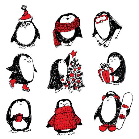 Cute hand drawn penguins set. Merry Christmas greetings