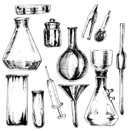 Collection d'accessoires chimiques dessinés à la main dans le style d'esquisse