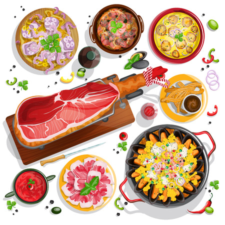 wine and food: Top view Spanish food collection with seafood paella, iberian ham on a jamonera, gazpacho, garlic shrimps, braised octopus, churros and red wine for your design Illustration
