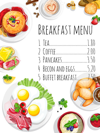 boiled: Classical breakfast menu poster with fried eggs bacon and other food realistic pictograms composition top view vector illustration