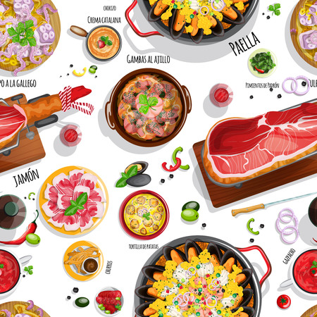 andalusian cuisine: Top view Spanish food seamless pattern with seafood paella, iberian ham on a jamonera, gazpacho, garlic shrimps, braised octopus, churros and red wine for your design