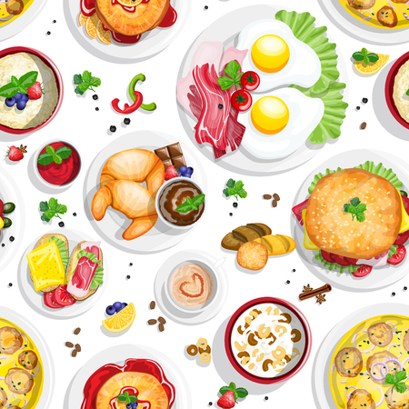 boiled: Classical hotel breakfast seamless pattern with fried eggs bacon and other food realistic pictograms composition top view vector illustration Illustration