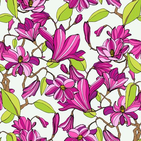 Magnolia blossom colorful seamless pattern Illustration