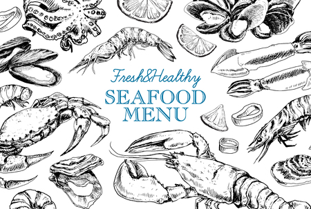 Vector frame with hand drawn seafood illustration - fresh lobster, crab, oyster, mussel, squid and spice. Decorative card or flyer design with sea food sketch. Vintage menu template. Ilustrace