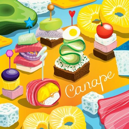 Illustration with different canape variation