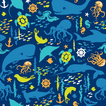 Seamless pattern of sea life. Иллюстрация