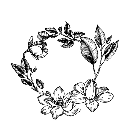 Wreath in engraving style Ilustrace