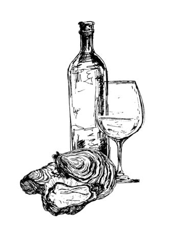 Bottle of wine, oysters and glass 向量圖像