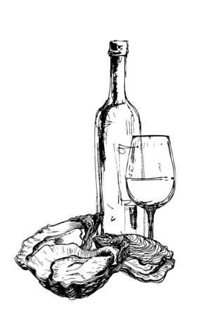 Bottle of wine, oysters and glass Ilustração