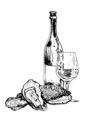 Bottiglia di vino, ostriche e bicchiere