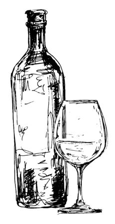 Bottle of wine and glass. Hand drawn illustration in engraving style. Isolated black illustration on white background Foto de archivo - 134761172