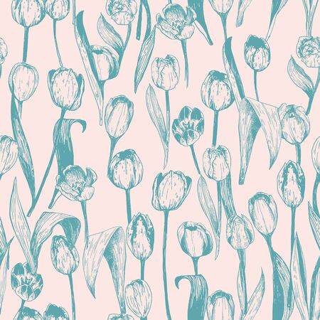 Seamless pattern with spring tulips are in engraving style